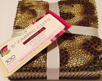 """5"""" Fabric Squares, 100 cotton fabric squares, quilt squares, quilting fabric, 100 Fabric Cuts for quilting, animal print fabric squares"""