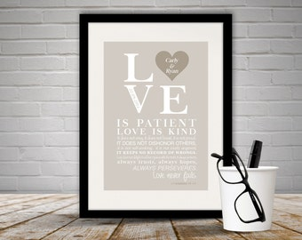 Personalised 'First Corinthians 13: 4-7' Print