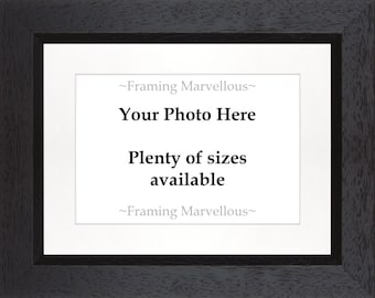 Black Wooden Photo Picture Frame - Choose Size and Mount Colour