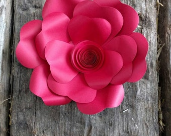 Giant Paper Flower 20cm diameter Carmine Red camellia  for wedding decor or photo booth backdrop.  In stock now. 706-054