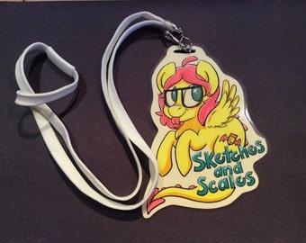 Custom Ponysona Character Badge (glows under black light and has glitter)