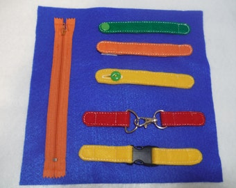 Fastener Quiet Book activity Page - Snap Button Zipper Buckle - Build a Personalized Busy Book Quiet Book Activity Book Busy Bag Preschooler