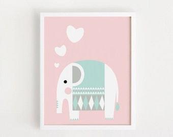Printable Nursery art Animal Print Cute Baby Wall Art Pink decor Elephant Print for baby girls Animal Art Printable Wall Art Print 30x40