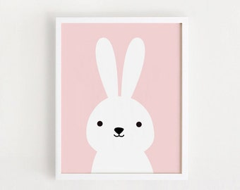 Printable Nursery Wall Art Pink Rabbit illustration Cute Bunny for Children babies Baby Girl room decor 8x10, A4 poster  INSTANT DOWNLOAD