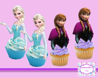 Frozen Elsa and Anna Cupcake toppers,cakepop toppers,cupcake decors