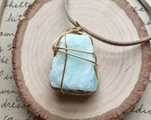 Aquamarine Necklace-Raw Aquamarine Necklace- Crystal Necklace- Healing Necklace-Wire Wrapped Necklace