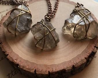 Raw Smoky Quartz Necklace - Raw Crystal Necklace - Raw Stone Necklace - Wire Wrapped Necklace - Smoky Quartz Necklace