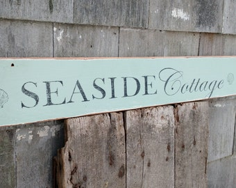 Vintage Seaside Cottage sign with shells hand-painted distressed shabby on reclaimed wood