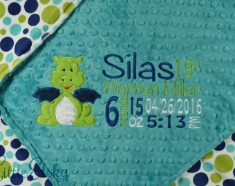 Minky Baby Blanket, Personalized Baby Blanket, Personalized Birth Stat Blanket, Dragon Appliqué Blanket, Choose your colors and size.