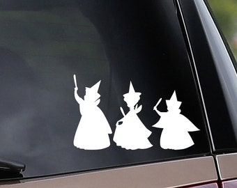 Vinyl Car Decal - Sleeping Beauty Fairies Set- Flora, Fauna, Merryweather - All Three!