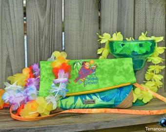 Parrothead Margaritaville Inspired Party Foldover Clutch Purse