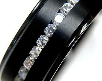 8mm Titanium Ring, Men's Titanium Wedding Band, Titanium Wedding Ring, Titanium, Black Titanium Ring, Titanium Rings, Wedding Bands CZ Stone