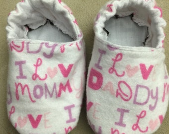 I love mommy and daddy baby booties, crib shoes, infant, slippers, girl