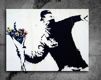 ACEO Banksy Flower Thrower Graffiti Street Art Canvas Giclee Print