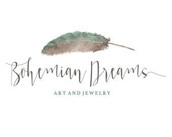 Watercolor Logo, Feather logo, custom logo, Bohemian logo, Gypsy logo