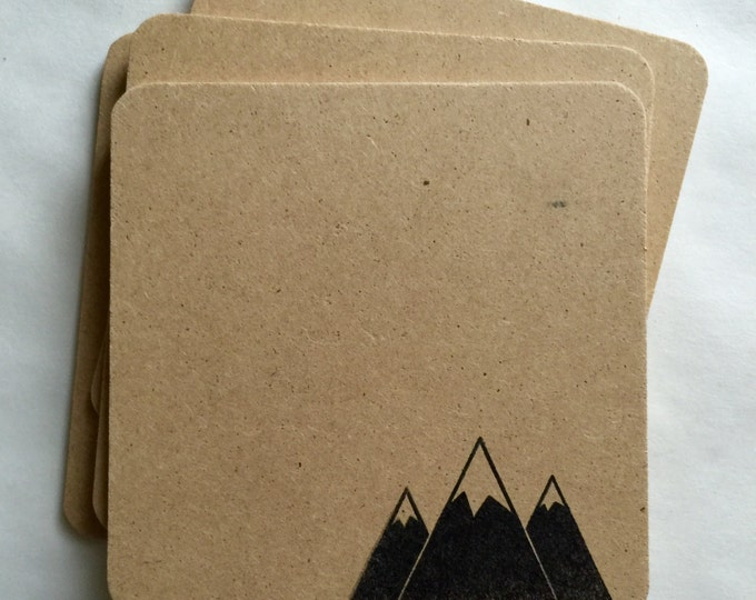 Mountain Coasters 6 Pack - handmade, hand stamped, modern triangle moutain top hilltop snowy ski hike gifts, rustic, flat rate shipping