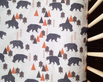 Crib Sheet: Bear-Camping Rust. Fitted Crib Sheet. Baby Bedding. Crib Sheets. Bear Baby Bedding. Adventure Bedding. Nursery Bedding.