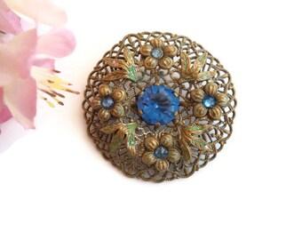 Blue Rhinestone Brooch, Czech Glass Flower Pin, Brass Filigree Brooch, Vintage Czech Jewelry, 1940s Jewellery, Rustic Wedding Accessories