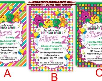 YOU PRINT - Personalized Barney Birthday Invitation,  Barney and Friends Birthday Invitation, Barney Party Printables, Invitation - BIRINV11