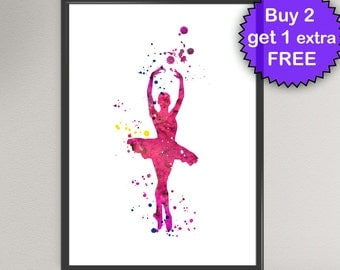 BALLERINA Watercolor Art Print Ballet Dancer Classic Dance illustrations Art Print Wall Art Poster Giclée Wall Decor Art Home (Nº2)