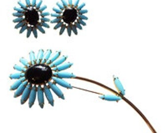 Napier Powder Blue Navette Glass Flower Brooch/Pin  and Ears Vintage 1970