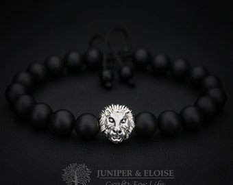 Lion Bracelet, Mens Bracelet Onyx and Lion  Bracelet For Men, Matte Bracelet, Christmas Gift, Wholesale available, Black Friday Deal