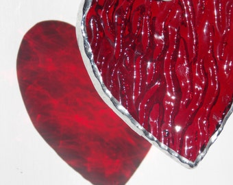 """Stained Glass Love Heart Sun Catcher Simple Hanging Window or Wall Art Deep Red Rippled Glass Perfect Romantic Gift 2.5"""" First Date"""