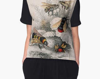 Victorian Bees Chiffon Top Clothing Wearable Art Woman Teen Girls  XS S M L XL 2XL