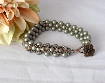 Victorian Beaded Bracelet Swarovski  Pearl Bracelet Seed Bead Jewelry Victorian Jewelry Victorian Style Bracelet