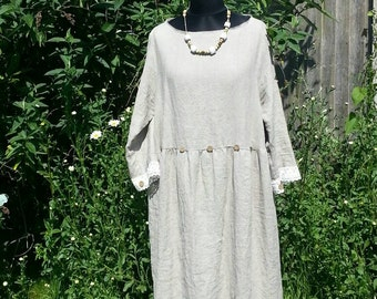 Eco  rustic look lagenlook  long washed linen dress size 18-20 with laces. SALE