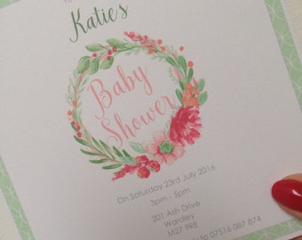 20 x Personalised Baby Shower Invitations