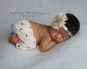 Newborn Cream and Gold Pants & Headband Set ~ Newborn Girl Baby Photo Prop