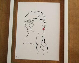 Minimalist Art Woman's Face // Minimalist Line Art // Original Art
