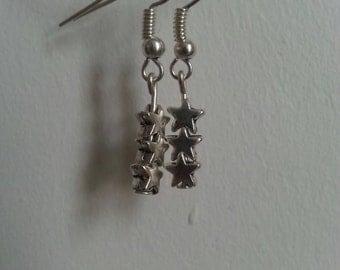 Three star dangly earrings