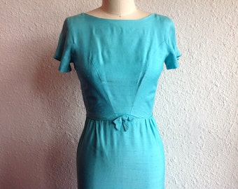 1960s Robin egg blue silk dress