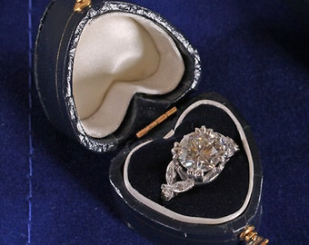 Antique Style Blue Leatherette Petite Heart Shaped Engagement Ring Box with Gold Clasp