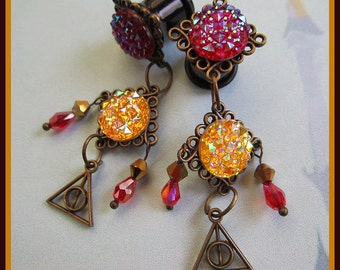 """Harry Potter inspired Deathly Hallows stretched dangle earrings EAR PLUGS pick gauge size 2g, 0g, 00g, 7/16"""", 1/2"""" aka 6mm, 8mm, 10mm, 12mm"""