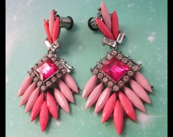 Pink Paradise Boho Rhinestone fancy Wedding EAR TUNNEL PLUG Earrings you pick gauge size - 12g, 8g, 6g, 4g, 2g aka 2mm, 3mm, 4mm, 5mm, 6mm
