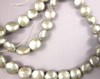 Sage Green Coin Pearls 10.5-11mm - half strand