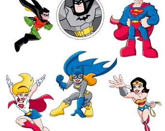 Hero Stickers , Kids , Boys , Girls , Batman , WonderWoman , Superman , Superwoman , Robin , Batgirl , scrapbooking