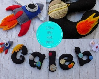 Name Banner - space theme nursery - new baby - kids wall art - nursery decor - gift for child - new baby gift - space decor - felt name gift