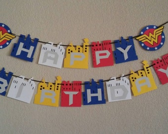 Wonder Women Happy Birthday Banner. Can be personalized with name and age. Free shipping USA. Its a boy, its a girl banner