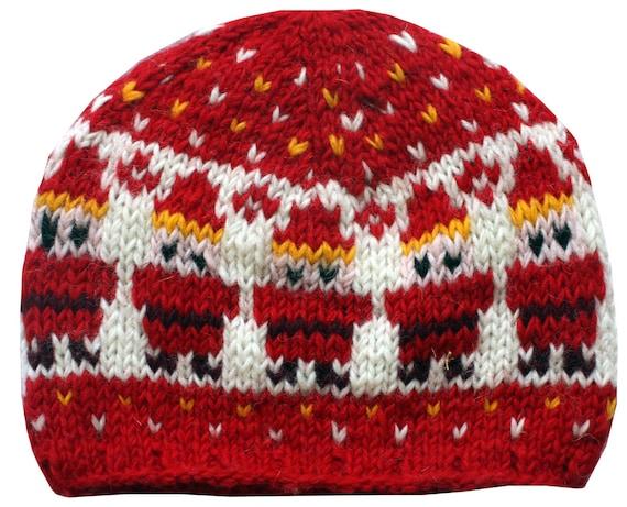 Elf Beanie Knitting Pattern : Knit Wool Elf Beanie Hat: Santa Elves Christmas Xmas red