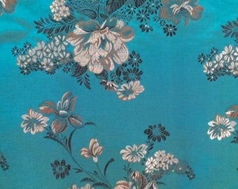 Teal and Gold Brocade Fabric