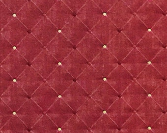 Kasmir Lindau Berry Gold and Cranberry Diamond Embroidered Upholstery Fabric Remnant