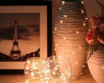 Free Shipping 30LED 10FT String Fairy Lights Warm White - Silver Wire Straud - Wedding Party Mason Jar Decoration LEDFLS-030-SWT