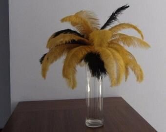 100pcs antique/metal gold & Black ostrich feather plumes,wedding centerpiece ,wedding table  decoration,table eiffel tower centerpiece