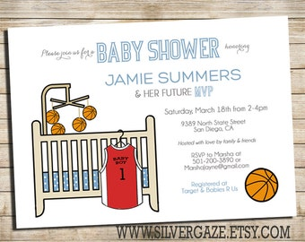 Basketball Baby Shower Invitation, MVP Basketball Baby Shower Invite, Sports Baby Shower Invite_130