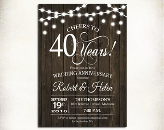 40th Wedding Anniversary Invitation / Wood Printable Rustic / Fairy String Lights / Digital Printable Invitation / Customized