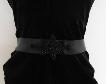 Black Beaded Belt 1920s Flapper Prom Great Gatsby Vintage Satin Ribbon 1930s 5AP